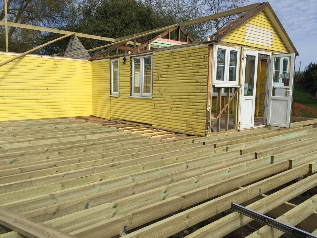 Roof line and decking taking shape the tea hut woodbridge for Roof lines